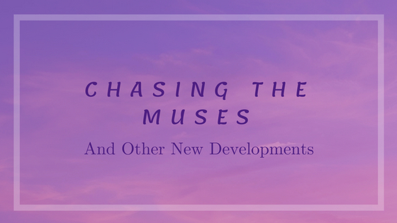 "The words ""Chasing The Muses"" appear on a violet sunset background."