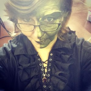 The author in nova chimera makeup- closeup.